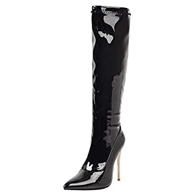 TAOFFEN Women Fashion Knee High Boots Pull On Stiletto Heels Boots Pointed Toe Boots Party Shoes Black Size 34 Asian