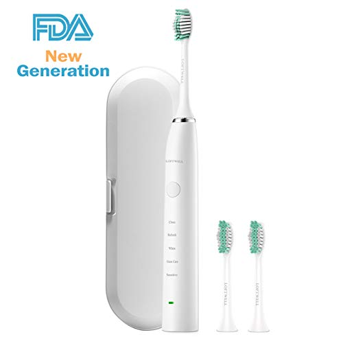 Electric Toothbrush Sonic Rechargeable Whitening Toothbrushes with Interval Smart Timer 5 Modes Waterproof Best Soft Replacement Heads Clean as Dentist for Adults and Kids