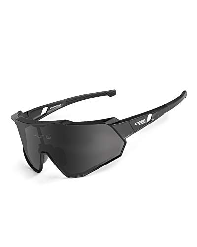 Cool Change Polarized Cycling Sunglasses Full Screen|TR90 Frame|UV400 Protection Sports Glasses for Men Women - Black