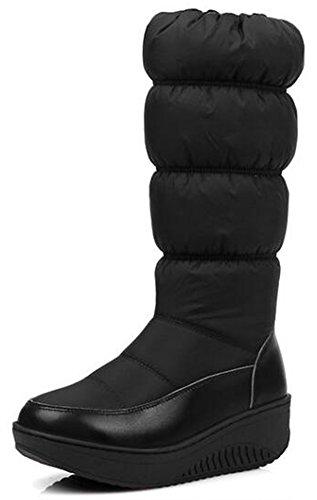 Summerwhisper Womens Trendy Ronde Neus Sleehak Platform Zijrits Mid Kuit Snowboots Schoenen Zwart