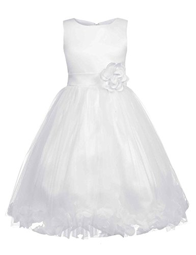 HOTOUCH Baby Girls Satin Bodice Flower Petals Pageant Princess Dress White 4T (Dress Satin Petals Tulle White)