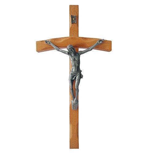 Oak Wood Crucifix (FengMicon Wall Wooden Cross Crucifix, 11.89 Inch)