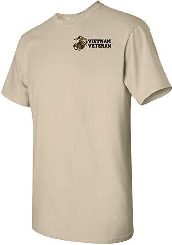 (MilitaryBest U.S. Marine Corps Vietnam Veteran Embroidered T-Shirt Tan)