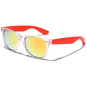 Colorful Retro Fashion Sunglasses - Translucent Clear Matte Frame - Color Mirrored Lenses - Clear & Orange