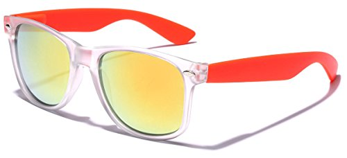 Colorful Retro Fashion Sunglasses - Translucent Clear Matte Frame - Color Mirrored Lenses - Clear & - Frame Clear Men Sunglasses