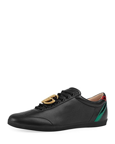 Gucci Mens Leather - Gucci Men's Bambi GG Leather Low-Top Sneaker, Black (10.5 US/10 UK)