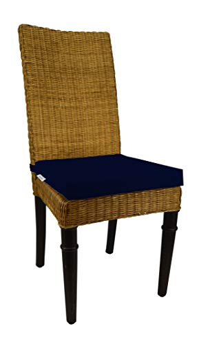 (RSH Décor Indoor Outdoor Soho Rattan Wicker Banana Leaf Seagrass Parson Chair Trapezoid Foam Seat Cushion w/Strap - Made from Sunbrella Canvas Navy (18