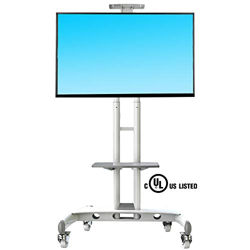 (NB North Bayou Mobile TV Cart TV Stand with Wheels for 32 to 65 Inch LCD LED OLED Plasma Flat Panel Screens up to 100lbs AVA1500-60-1P (White))