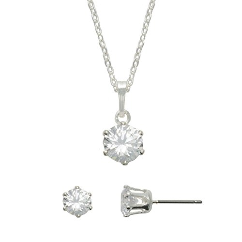 Essential Designs Hypoallergenic Silver CZ Necklace and Earring Set for Sensitive Skin
