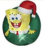 3 Ft. - Gemmy Christmas Airblown Inflatable - SpongeBob Squarepants with Wreath