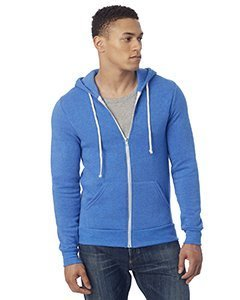 Alternative Mens Rocky Eco-Fleece Zip Hoodie X-Small Eco True Pacific Blue by Alternative