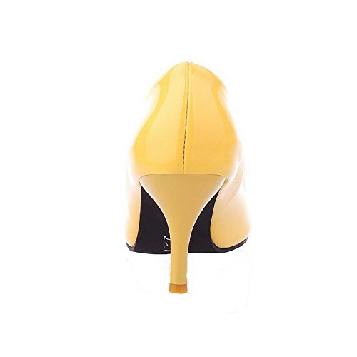 di Scarpe Punta Giallo Donna Puro A Tirare Maiale Tacco Ballet Medio Pelle VogueZone009 Flats AntaZw6qA
