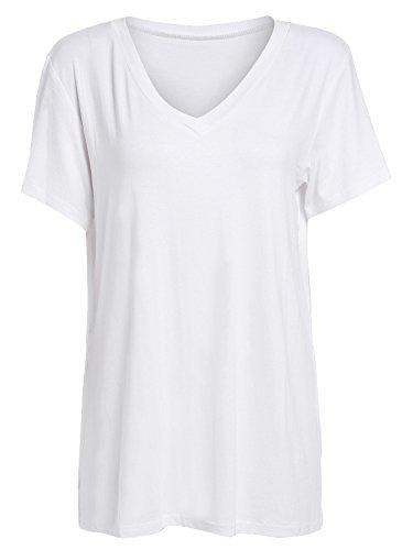 Floerns Women's V Neck Short Sleeve Casual T-shirt X-Large White