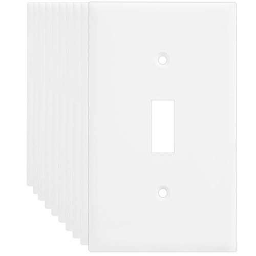 Will Light Switch Covers (Enerlites 8811-W 1-Gang Toggle Switch Wall Plate, Standard Size, Unbreakable Polycarbonate, White - 10 Pack)