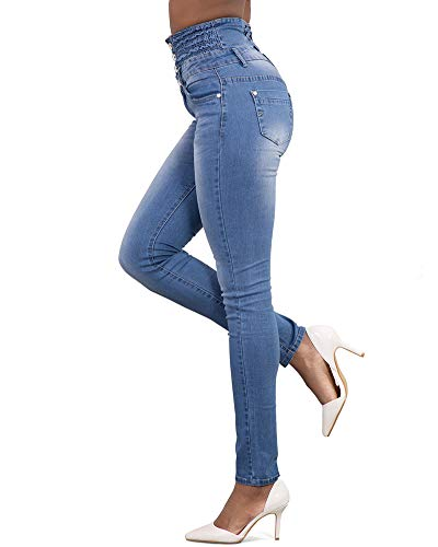 Yonglan Blu Vita Donna Denim Jeans Elasticità Slim Skinny Fit Alta Pantaloni Chiaro Matita pqprxPwZ
