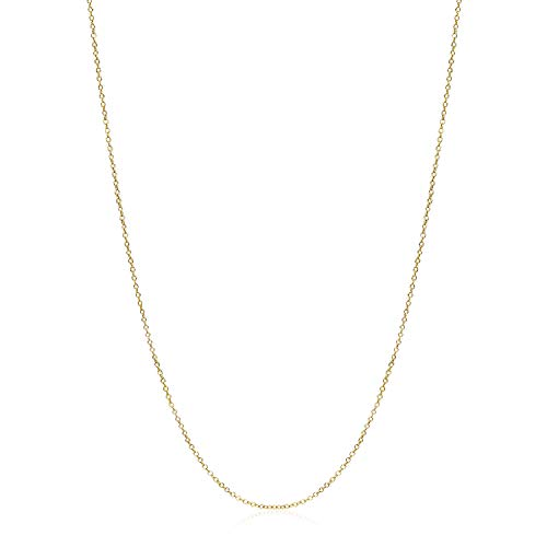 Yellow Gold Flashed Sterling Silver 1mm Rolo Chain Size 24