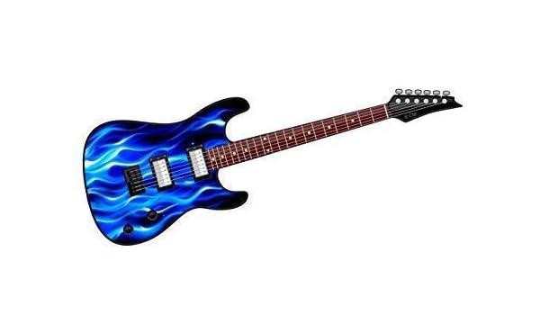 Cool Electric Guitar Diseño con Azul Llamas Fuego Motivo Vinilo ...