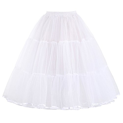 Women's Vintage Swing Net Petticoat Skirt Tutu Underskirt 22 Inch White(L) (Best Tea Length Wedding Dresses)