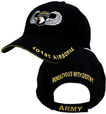 US Army Caps 101st Airborne with Jump Wings, Black, Adjustable