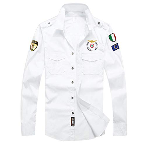 Mens Casual Embroidery Military Button Down Long Sleeve T-Shirt Pocket Tops White ()