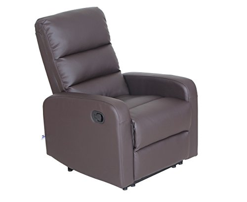 Recliner Chair Faux Leather PU Leather Ergonomic Design (1 Seater), Brown