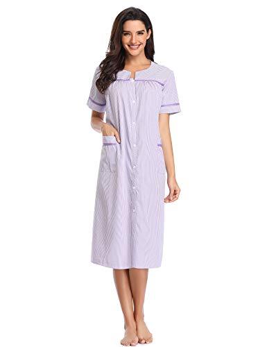 Lusofie Nightgowns for Women Short Sleeve House Coat Button Down Striped Sleepwear (Purple, L) (Nursing Coat Cotton)