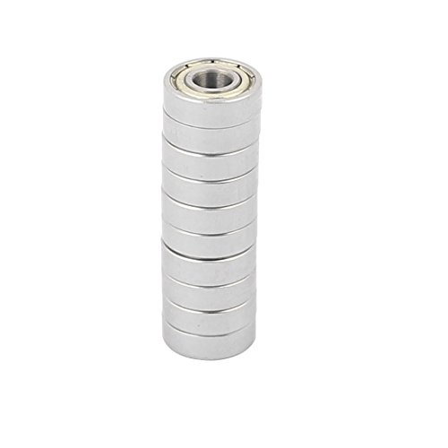 - uxcell 10 Pcs Metal Deep Groove Sealed Shielded Ball Bearing 5mmx13mmx4mm Silver Tone