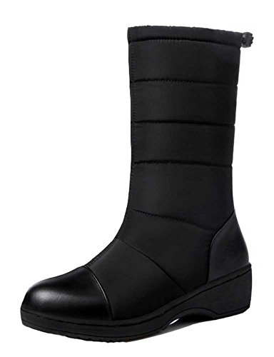 - CHFSO Women's Warm Solid Toggle Faux Fur Lined Mid Heel Platform Winter Boots Black 7 B(M) US