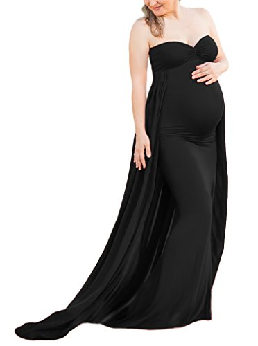 d Maxi Gown, Long Maternity Tube Dress Photography Photo Shoot, Baby Shower (L, Black) ()