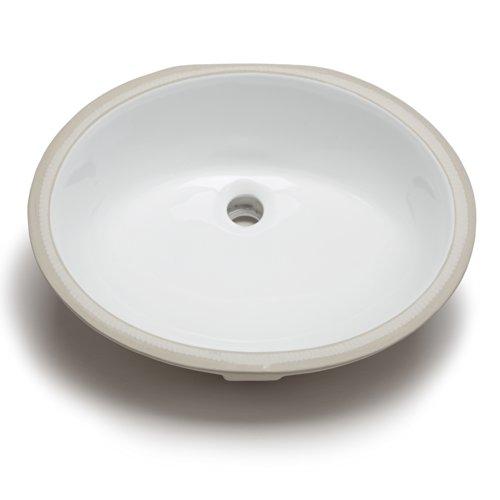 Hahn Ceramic VC006 Medium Oval Ceramic Bathroom Sink, (Medium Undermount Bathroom Sink)