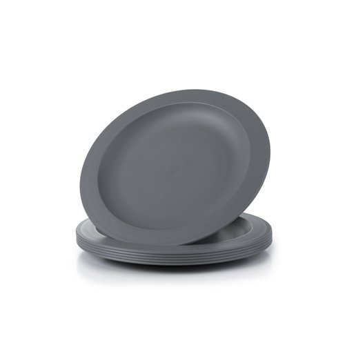Amuse- Unbreakable and Reusable Plastic Plate Set- BPA Free- Set of 6-9.65 in. (Gray)