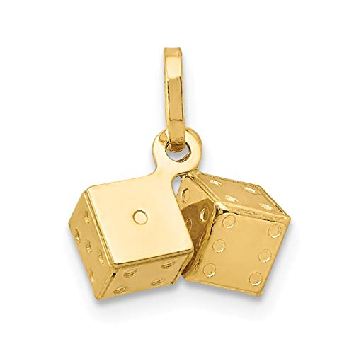 14k Dice Gold (14k Yellow Gold Dice Pendant Charm Necklace Gambling Fine Jewelry Gifts For Women For Her)