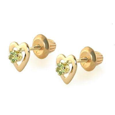 Kids 14K Yellow Gold Genuine Peridot Heart Stud Earrings - August Birthstone
