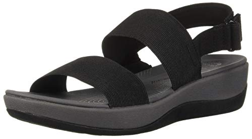 CLARKS Women's Arla Jacory Wedge Sandal, Black Solid, 9 M US (Code Names For Best Friends)