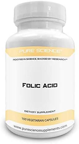 Pure Science Folic Acid 1000mcg - Daily Health Regimen & Prenatal Care for Women, Supports Cardiovascular Health & Cell-Regeneration - 100 Vegetarian Capsules