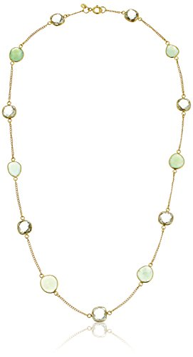 Green Amethyst and Chrysoprase Bezel Station Gold-Plated Sterling Silver Chain Necklace, 24""