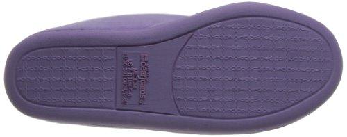 Dearfoams Pluche Velours Gesloten Slipper Met Damesslip - Gevoerde Microfiber-slip-ons Met Een Duurzame Buitenzool - 745 Pretty Purple