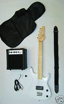 "Metallic White Junior Kids Mini 3/4 Electric Guitar and Amp Starter Pack with ""Learn to Play Guitar DVD"", Guitar, DVD, Temolo, Amplifier, Gig Bag, Strap, Cable, & DirectlyCheap(TM) Pick"