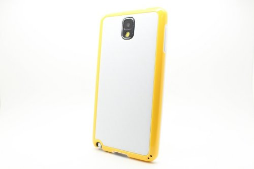 JUJEO Hybrid Fiber Cover with 3D Pattern for Samsung Note 3 N9005 N9002 N9000 - Non-Retail Packaging - White/Yellow