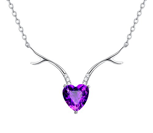 - B.ANGEL Ideal Gifts for Women Natural Amethyst with 925 Sterling Silver Necklace Pendant,18