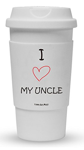 Funny Guy Mugs I Love My Uncle Travel Tumbler With Removable Insulated Silicone Sleeve, White, 16-Ounce by Funny Guy Mugs