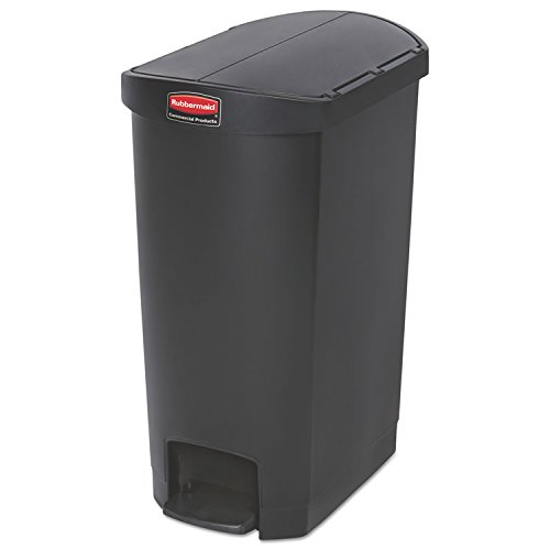 Rubbermaid Commercial 1883612 13 gal. Slim Jim Resin Step-On Container, End Step Style - Black by Rubbermaid Commercial