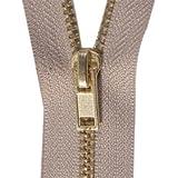 """45"""" Brass Zipper, Beige"""