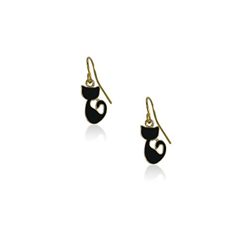 New Gold Tone Sitting Cat Dangle Earrings for Women Teens Girls, Nickel Free and Anti-allergic (Gold Tone Cat)