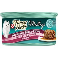 Fancy Feast Medleys Tastemakers Whitefish & Shrimp Recipe with Rice & Spinach in Gravy, 3-oz, case of 24