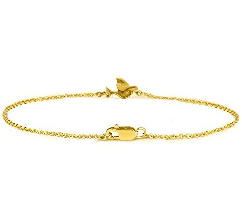 Or Jaune 14 ct Bracelet Diamant en forme de Oiseau, 0.03 Ct Diamant, GH-SI, 1.76 grammes.