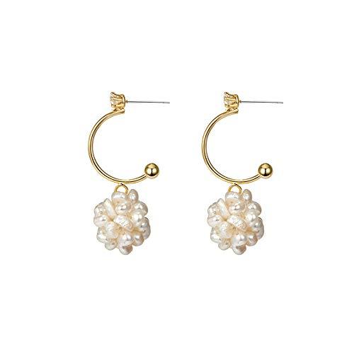 - ASHIJIN Single Cold Wind Earrings Rice Beads Pearl Ball Semi-Circle Super Fairy Ear Nails Female Tide