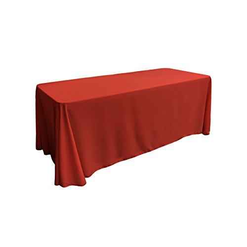 LA Linen Polyester Poplin Rectangular Tablecloth, 90 by 156-Inch, Red (And White Cloth Table Wedding Red)