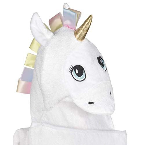 Bambi Bamboo Toddler Towel with Hood, Unicorn Hooded Bath Towel for Baby, Newborns, Infants, Toddlers - Large 40 x 30 inches - White, Soft - Gifts for ()