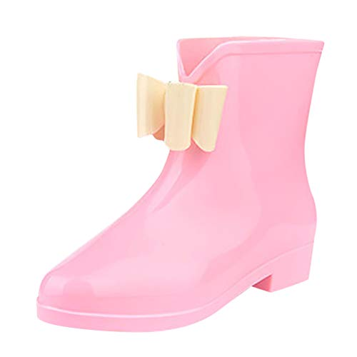 CCFAMILY Women's Rain Boots Wedges Short Tube Rain Boots Non-Slip Waterproof Water Shoes Pink